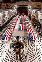 Flag-draped Coffins of US Soldiers